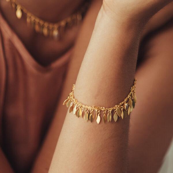 bracelet feathers vermeil 18 carats quartz
