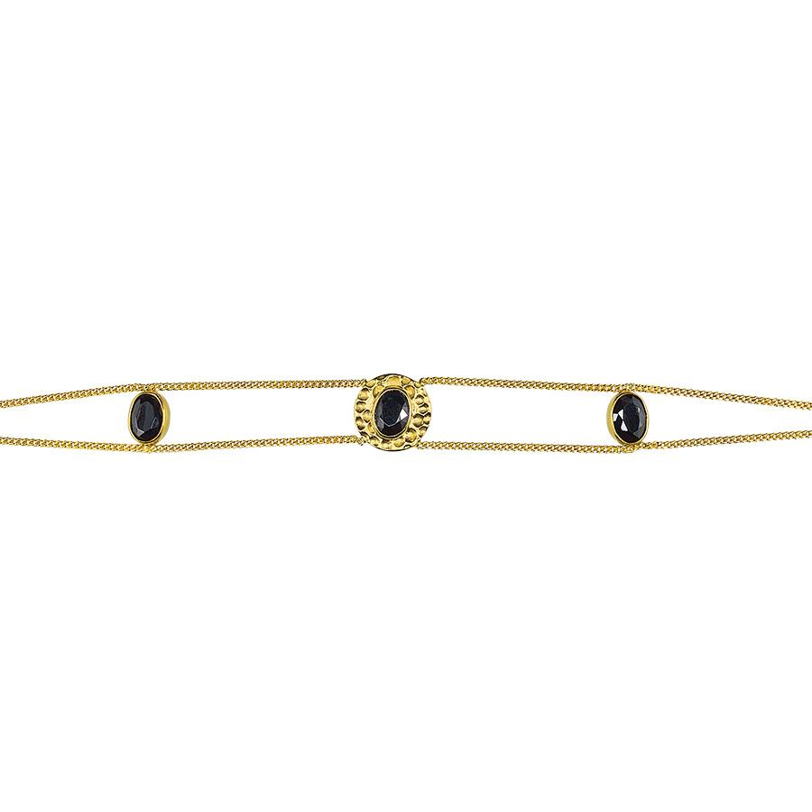 """Bracelet """"Stardust"""" vermeil plaqué or 18 carats et quartz noir"""