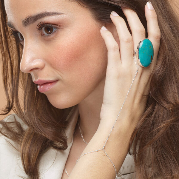 chaîne de main perle argent perle de jade