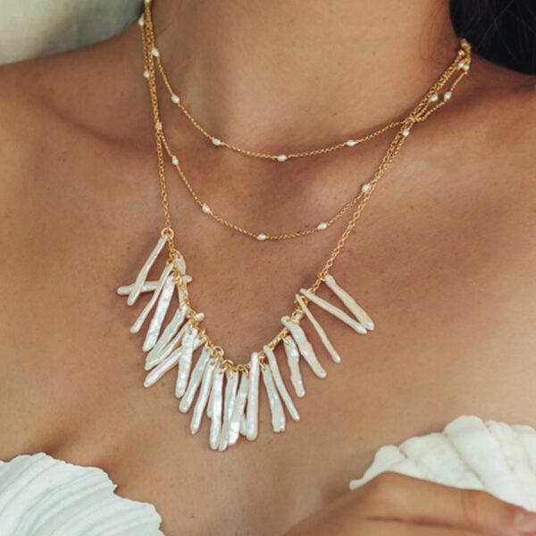 collier atlantis vermeil 18 carats nacres blanches naturelles