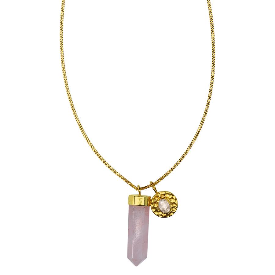 """Collier """"Charms"""" vermeil plaqué or 18 carats et quartz rose"""