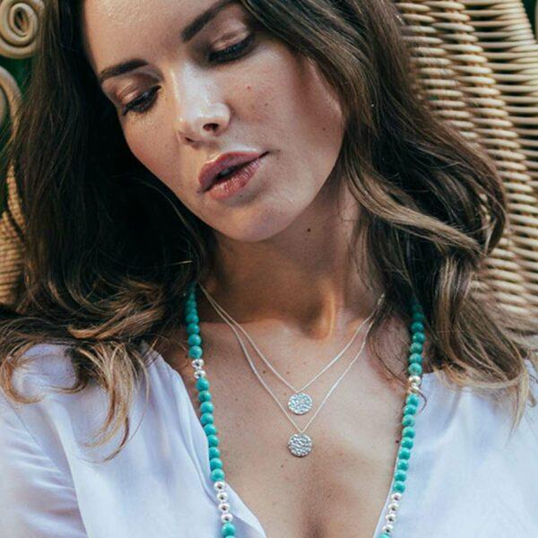 collier double rond roma argent massif 925 perle de jade