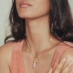 collier quartz rose vermeil perle de jade
