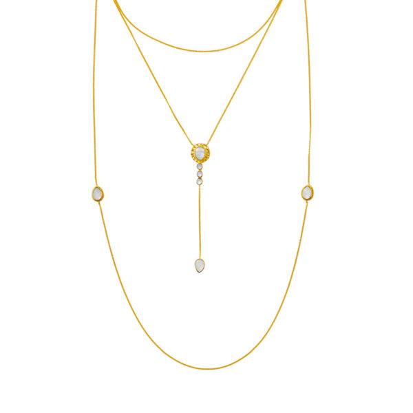 collier stardust trois niveaux vermeil plaque or 18 carats nacre perle de jade retouche 1