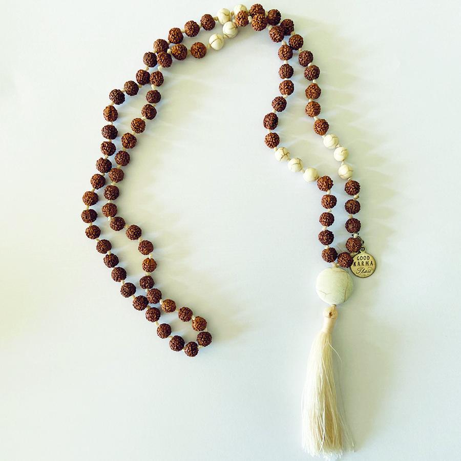 CollierMalaBouddhiste- perle de jade