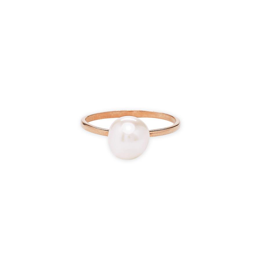 Bague clemence plaque or rose perle de culture perle de jade 1