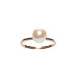 Bague clemence plaque or rose perle de culture perle de jade 2