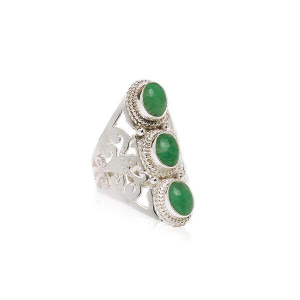 bague eivissa pierre de jade argent massif 925 perle de jade