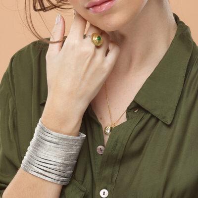 bracelet manchette rock cuir perle de jade