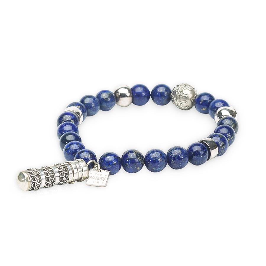 Bracelet Bouddhiste Pierres Lapis Lazuli Secret Box Argent Retouche